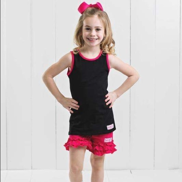 Ruffle Girl Other - Ruffle Girl Black Tank & Pink Ruffle Short Set